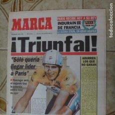 Coleccionismo deportivo: PERIODICO MARCA 25/7/93 INDURAIN A POR SU TERCER TOUR. Lote 223038638