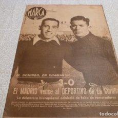 Coleccionismo deportivo: MARCA (3-2-42) R.MADRID 3 CORUÑA 0,ESPAÑOL 1 OVIEDO 1,VALENCIA 4 BARÇA 2,CASTELLÓN 1 ALICANTE 0. Lote 223444591