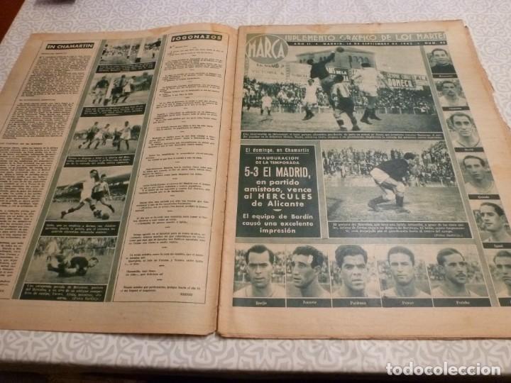 Coleccionismo deportivo: MARCA (14-9-43)FRANCO EN LAS REGATAS, VALENCIA 4 BARÇA 3,R.MADRID 5 HERCULES 3 (AMISTOSO) - Foto 2 - 223515526
