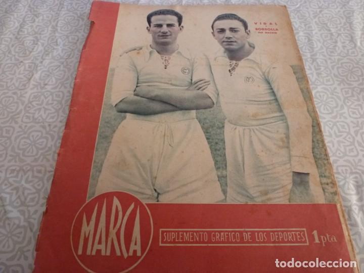 MARCA (9-1-45)BARÇA 2 AT.AVIACIÓN 2,SABADELL 1 VALENCIA 1,R.MADRID 4 OVIEDO 1,OLIVIA DE HAVILLAND. (Coleccionismo Deportivo - Revistas y Periódicos - Marca)