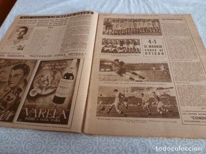 Coleccionismo deportivo: MARCA (9-1-45)BARÇA 2 AT.AVIACIÓN 2,SABADELL 1 VALENCIA 1,R.MADRID 4 OVIEDO 1,OLIVIA DE HAVILLAND. - Foto 3 - 223516171