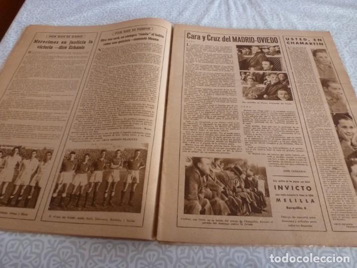 Coleccionismo deportivo: MARCA (9-1-45)BARÇA 2 AT.AVIACIÓN 2,SABADELL 1 VALENCIA 1,R.MADRID 4 OVIEDO 1,OLIVIA DE HAVILLAND. - Foto 5 - 223516171