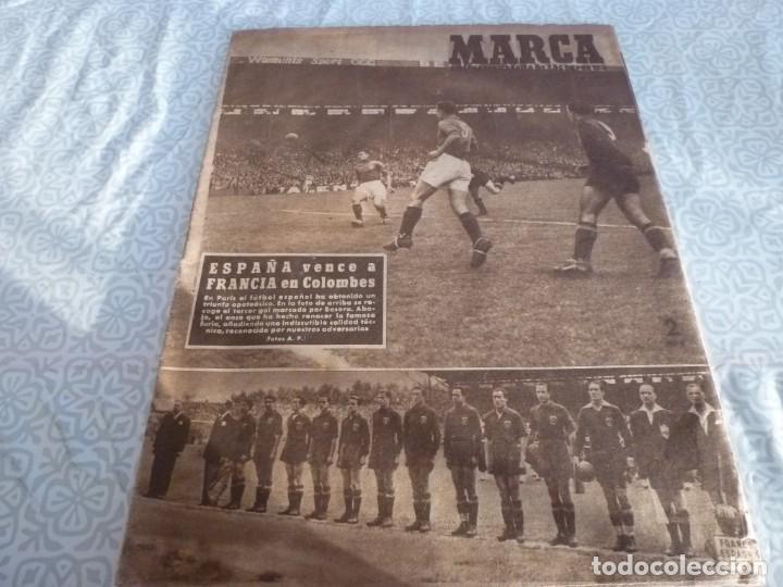 MARCA (21-6-49)!!! FRANCIA 1 ESPAÑA 5 !!! VALENCIA 5 SOCHAUX 2,ZARAGOZA 2 OPORTO 5 (Coleccionismo Deportivo - Revistas y Periódicos - Marca)