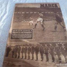 Coleccionismo deportivo: MARCA (21-6-49)!!! FRANCIA 1 ESPAÑA 5 !!! VALENCIA 5 SOCHAUX 2,ZARAGOZA 2 OPORTO 5. Lote 223516801
