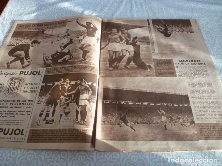 Coleccionismo deportivo: MARCA (21-6-49)!!! FRANCIA 1 ESPAÑA 5 !!! VALENCIA 5 SOCHAUX 2,ZARAGOZA 2 OPORTO 5 - Foto 4 - 223516801