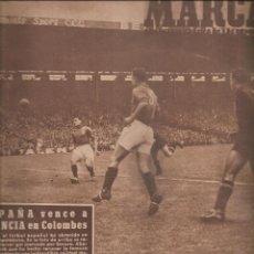 Coleccionismo deportivo: 2531.MARCA 21 JUNIO 1949. ESPAÑA VENCE A FRANCIA. EXCELENTES ANUNCIOS. Lote 223862122