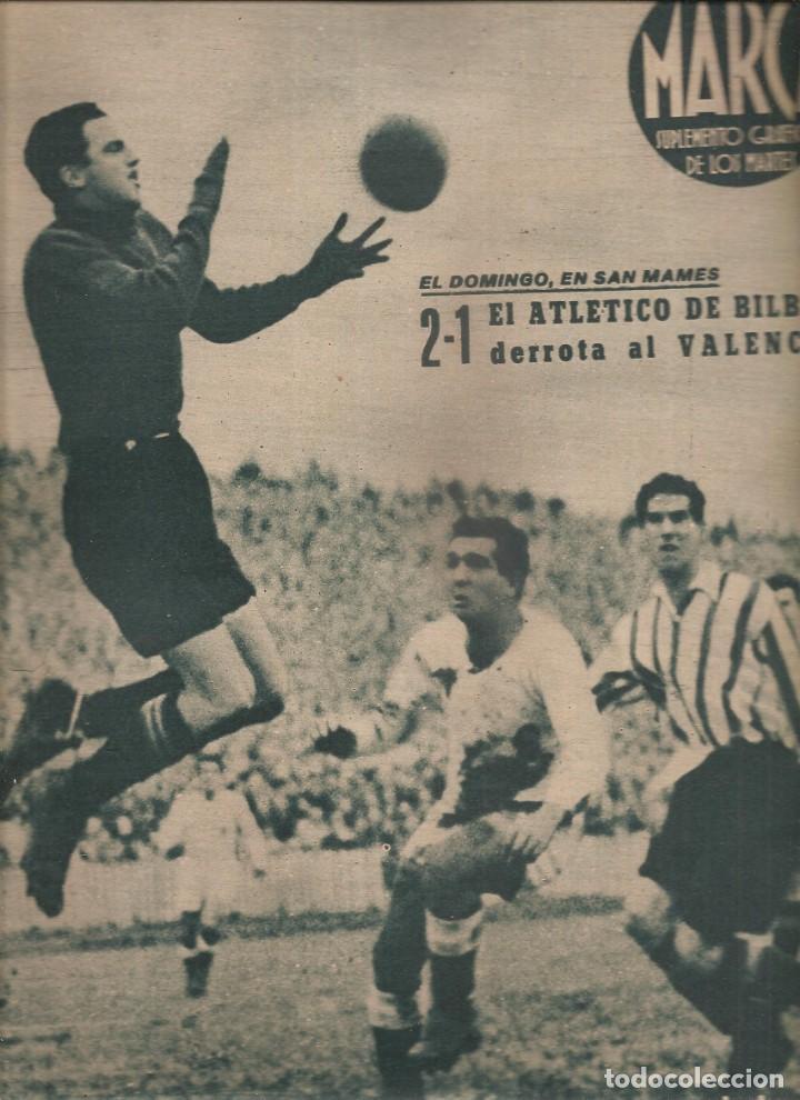 Coleccionismo deportivo: 2532. marca 4 de enero de 1944. periodico y suplemento grafico. barcelona gana a real madrid - Foto 2 - 223968167