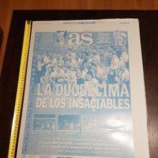 Coleccionismo deportivo: FOTOPOLIMERO ORIGINAL DIARIO AS 12 COPA EUROPA REAL MADRID. Lote 225195810