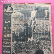 Collectionnisme sportif: PERIODICO MARCA 1943 LIGA 42/43 REAL MADRID 1-4 CELTA VIGO DEVA - VALENCIA 7-0 ZARAGOZA - HOCKEY. Lote 225494171
