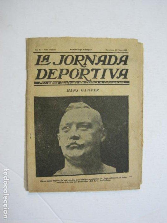 Coleccionismo deportivo: LA JORNADA DEPORTIVA-HOMENATGE A HANS GAMPER-FC BARCELONA-FEBRER 1923-FUTBOL-VER FOTOS-(K-1160) - Foto 2 - 227086360