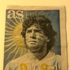 Coleccionismo deportivo: DIARIO AS 18085 DIOS HA MUERTO MARADONA FALLECIMIENTO 27/11/2020. Lote 228018777