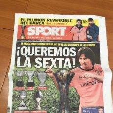 Colecionismo desportivo: PORTADA SPORT 19-12- 2009 PREVIA TITULO MUNDIALITO. Lote 228039235