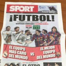 Colecionismo desportivo: PORTADA SPORT 10 - 04 - 2010 PREVIA REAL MADRID - FC BARCELONA. Lote 228041870