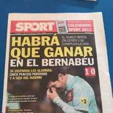 Collectionnisme sportif: PORTADA SPORT 27-11-2011 DERROTA ANTE GETAFE. Lote 228309440