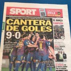 Collectionnisme sportif: PORTADA SPORT 23-12-2011 VUELTA COPA DEL REY HOSPITALET. Lote 228310350