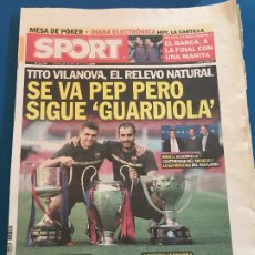 Collectionnisme sportif: PORTADA SPORT 28-04-2012 TITO VILANOVA RECAMBIO DE GUARDIOLA FC BARCELONA. Lote 228343765