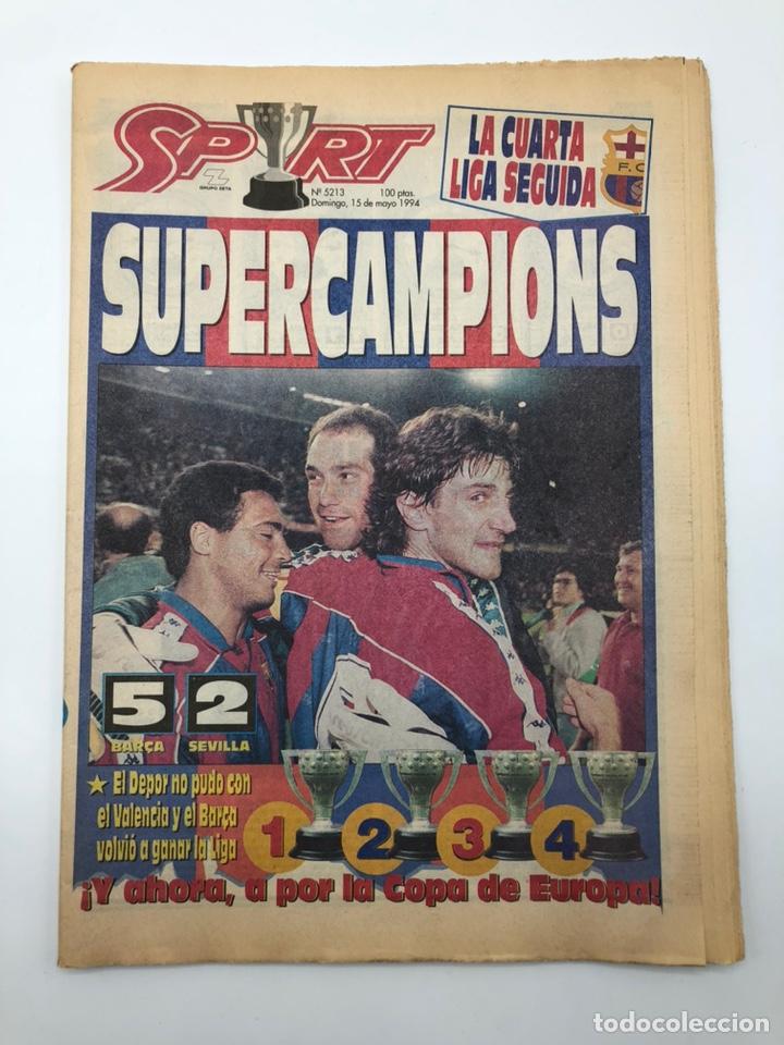 DIARIO SPORT FC BARCELONA BARÇA CAMPEÓN LIGA 1993 1994 CUARTA DJUKIC DEPORTIVO CRUYFF 5213 15 MAYO (Coleccionismo Deportivo - Revistas y Periódicos - Sport)