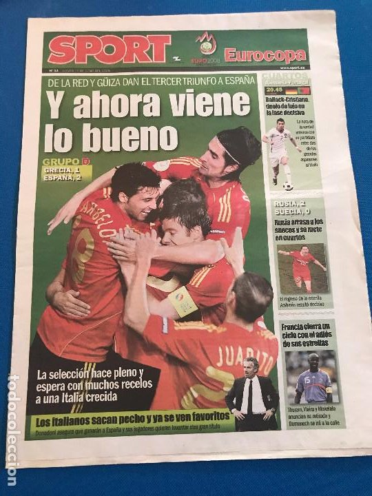 Coleccionismo deportivo: portadas sport España Campeona de Eurocopa 2008 - Foto 12 - 228483290