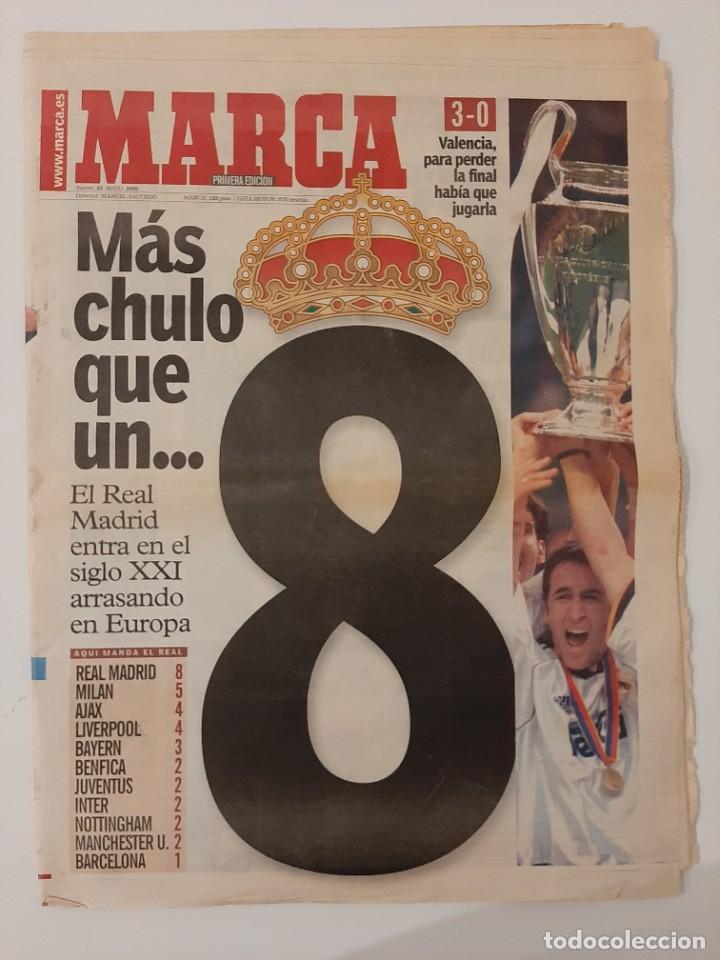 PERIÓDICO MARCA. 25 MAYO 2000. REAL MADRID VENCE AL VALENCIA. FINAL COPA DE EUROPA 2000. CHAMPIONS. (Coleccionismo Deportivo - Revistas y Periódicos - Marca)