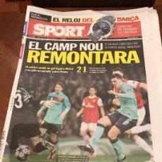 Colecionismo desportivo: PORTADA SPORT 17-02-2011 DERROTA CHAMPIONS CUARTOS ARSENAL - FC BARCELONA. Lote 229192360