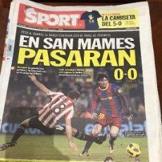Colecionismo desportivo: PORTADA SPORT 22-12-2010 EMPATE COPA FC BARCELONA - ATH BILBAO. Lote 229329480