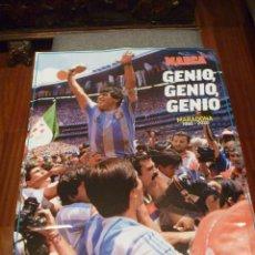 Coleccionismo deportivo: MARADONA MANO DE DIOS GRAN PÓSTER HOMENAJE MARCA BARCELONA NAPOLES. Lote 230008110