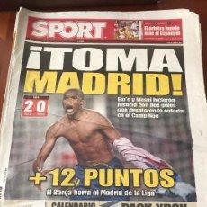 Collectionnisme sportif: PORTADA SPORT 14-12-2008 VICTORIA LIGA FC BARCELONA - REAL MADRID. Lote 230741775
