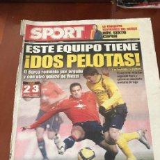 Collezionismo sportivo: PORTADA SPORT 12-01-2009 VICTORIA LIGA OSASUNA - FC BARCELONA. Lote 230743145