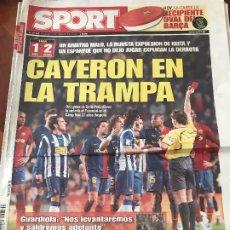 Colecionismo desportivo: PORTADA SPORT 22-02-2009 DERROTA LIGA FC BARCELONA - ESPAÑOL. Lote 230751195