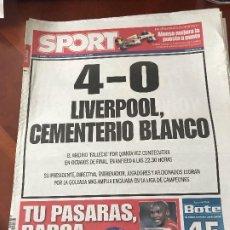 Colecionismo desportivo: PORTADA SPORT 11-03-2009 REAL MADRID ELIMINADO CHAMPIONS 4-0 LIVERPOOL. Lote 230762665