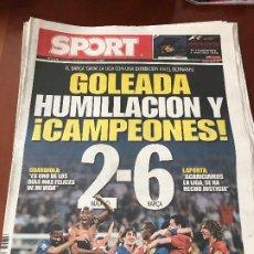 Coleccionismo deportivo: PORTADA SPORT 03-05-2009 VICTORIA LIGA REAL MADRID - FC BARCELONA 2-6. Lote 230764210