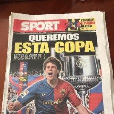 Coleccionismo deportivo: PORTADA SPORT 14 Y 15-05-2009 PREVIO Y FINAL COPA DEL REY ATH BILBAO 1 - FC BARCELONA 4. Lote 230764825