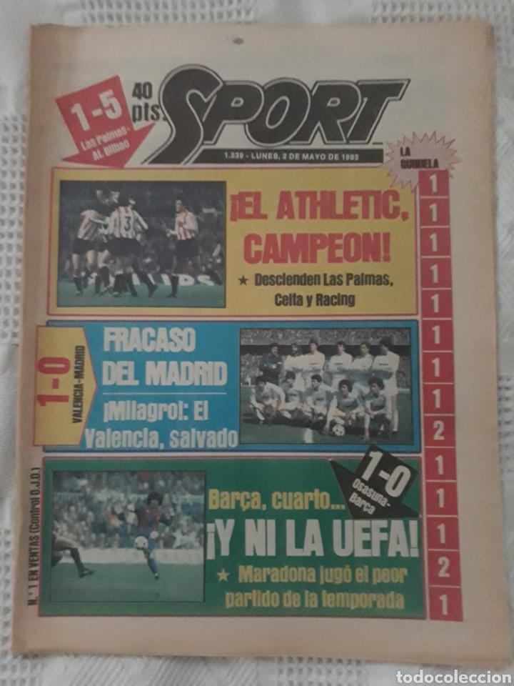 DIARIO SPORT . 2 DE MAYO DE 1983 .EL ATHLETIC, CAMPEON !. (Coleccionismo Deportivo - Revistas y Periódicos - Sport)