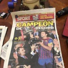 Coleccionismo deportivo: PORTADA SPORT 26-05-2012 FINAL COPA REY VICTORIA ATH BILBAO - FC BARCELONA. Lote 231601235
