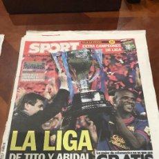 Colecionismo desportivo: PORTADA SPORT 20-05-2013 VICTORIA LIGA FC BARCELONA - VALLADOLID LIGA DE TITO Y ABIDAL. Lote 231604055