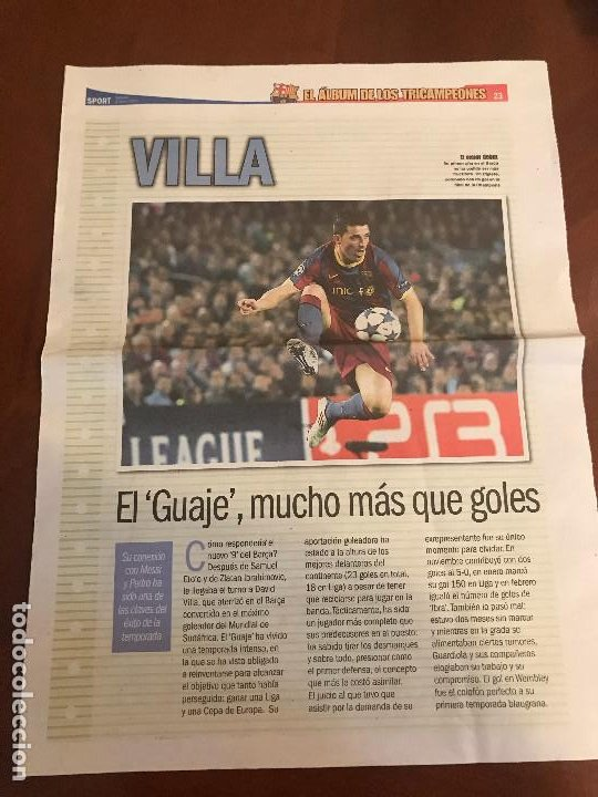 SUPLEMENTO SPORT - VILLA - ALBUM DE TRICAMPEONES + POSTER DEL FC BARCELONA 10-11 (Coleccionismo Deportivo - Revistas y Periódicos - Sport)