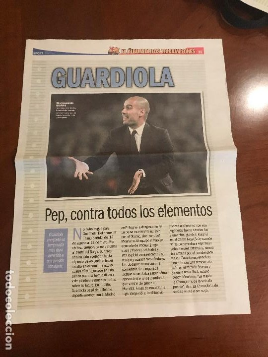 SUPLEMENTO SPORT - GUARDIOLA - ALBUM DE TRICAMPEONES + POSTER DEL FC BARCELONA 10-11 (Coleccionismo Deportivo - Revistas y Periódicos - Sport)