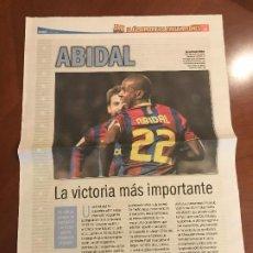Coleccionismo deportivo: SUPLEMENTO SPORT - ABIDAL - ALBUM DE TRICAMPEONES + POSTER DEL FC BARCELONA 10-11. Lote 231806005