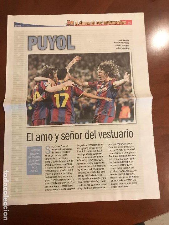 SUPLEMENTO SPORT - PUYOL - ALBUM DE TRICAMPEONES + POSTER DEL FC BARCELONA 10-11 (Coleccionismo Deportivo - Revistas y Periódicos - Sport)
