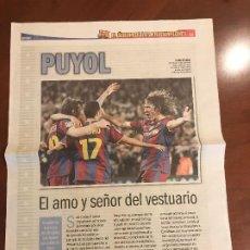 Coleccionismo deportivo: SUPLEMENTO SPORT - PUYOL - ALBUM DE TRICAMPEONES + POSTER DEL FC BARCELONA 10-11. Lote 231806070
