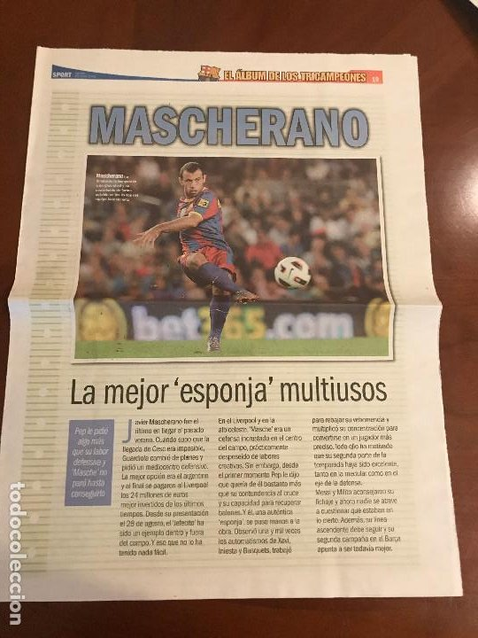 SUPLEMENTO SPORT - MASCHERANO - ALBUM DE TRICAMPEONES + POSTER DEL FC BARCELONA 10-11 (Coleccionismo Deportivo - Revistas y Periódicos - Sport)