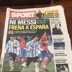 Colecionismo desportivo: PORTADA SPORT 15-11-2009 VICTORIA ESPAÑA - ARGENTINA. Lote 232736875