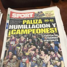 Collectionnisme sportif: PORTADA SPORT 22-02-2010 CAMPEON COPA BALONCESTO FC BARCELONA. Lote 232977030