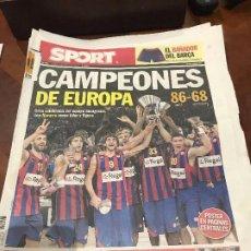Collectionnisme sportif: PORTADA SPORT 10-05-2010 CAMPEONES EUROPA BALONCESTO FC BARCELONA. Lote 232977455