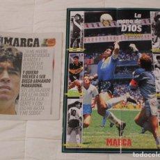 Coleccionismo deportivo: LOTE DIARIO MARCA. HOMENAJE DIEGO MARADONA. INCLUYE SUPERFOTO.. Lote 228156500