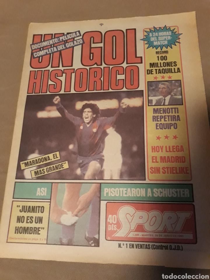 DIARIO SPORT N° 1298 . UN GOL HISTORICO DE MARADONA , AL REAL MADRID EN COPA DEL REY AÑO 1983 . (Coleccionismo Deportivo - Revistas y Periódicos - Sport)