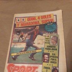Coleccionismo deportivo: DIARIO SPORT 23 FEBRERO 1984 . QUINI 4 GOLES . MARADONA SUPER . BARCA 4 OSASUNA 0. Lote 233745130