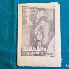Coleccionismo deportivo: BIOGRAFIA DEL PORTERO DE FUTBOL RAMALLETS (1963) EL SUCESOR DE ZAMORA - SUPLEMENTO DIARIO MARCA - RW. Lote 234542535