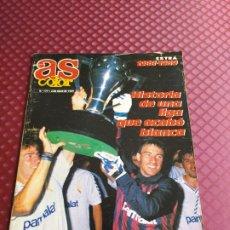 Coleccionismo deportivo: AS COLOR 177 EXTRA LIGA 1988 1989 POSTER REAL MADRID CAMPEON LIGA BUEN ESTADO. Lote 234975155