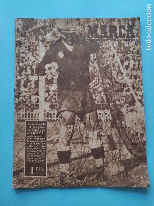 PERIODICO MARCA 1947 ALBACETE CULTURAL LEONESA - VALENCIA-ALCOYANO (Coleccionismo Deportivo - Revistas y Periódicos - Marca)